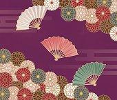 菊と扇子和風花柄