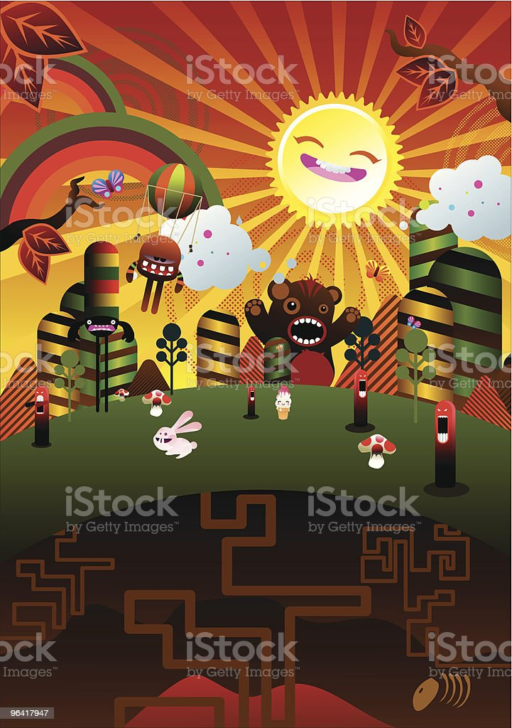 Japanese Style Garden with Playful Anime Characters and Monsters royalty-free stock vector art