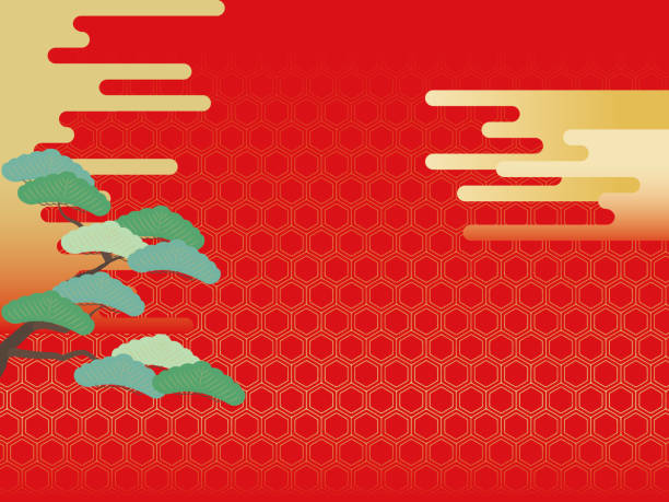 Japanese style illustration on a red background with pine trees, clouds and kikkou patterns. vector art illustration