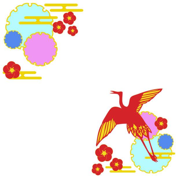 Japanese style material of crane vector art illustration