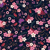 Japanese style pink purple white flower pattern