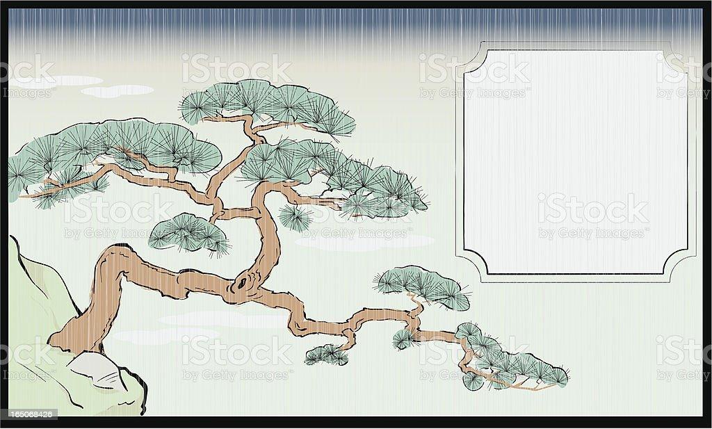 Stile giapponese Pino rosso Silografia - illustrazione arte vettoriale
