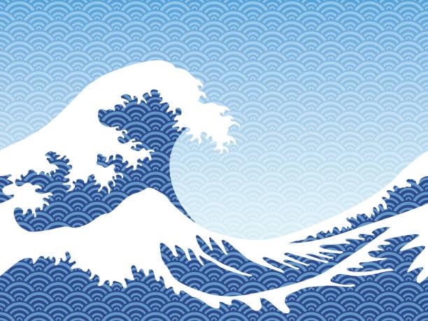 일본 스타일 완벽 한 큰 파도입니다. - 가나가와 stock illustrations