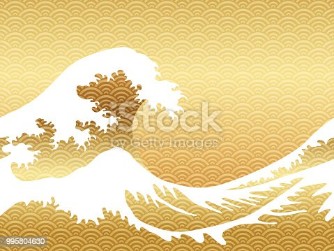 Japanese style seamless great wave in a vintage style, vector illustration. Horizontally repeatable.