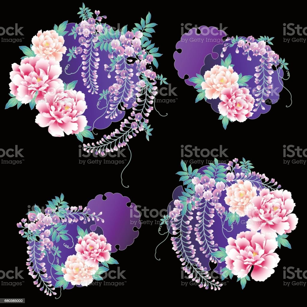 Japanese style wisteria and peony royalty-free japanese style wisteria and peony stock vector art & more images of beauty in nature