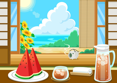 Japanese summer greeting card watermelon and barley tea. Scenery of sunflowers blooming in the garden overlooking the sea/ Vector