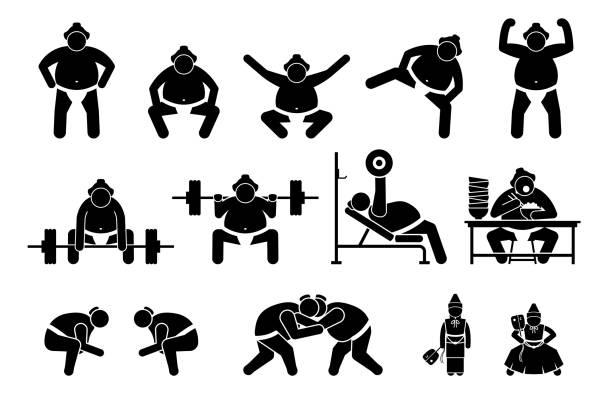 japanische sumo wrestler ikonen piktogramm. - sumo stock-grafiken, -clipart, -cartoons und -symbole