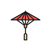 Vector japanese sun umbrella flat color line icon. Symbol and sign illustration design. Isolated on white background
