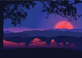 Vector illustration of the  sunset in Japan mountains.