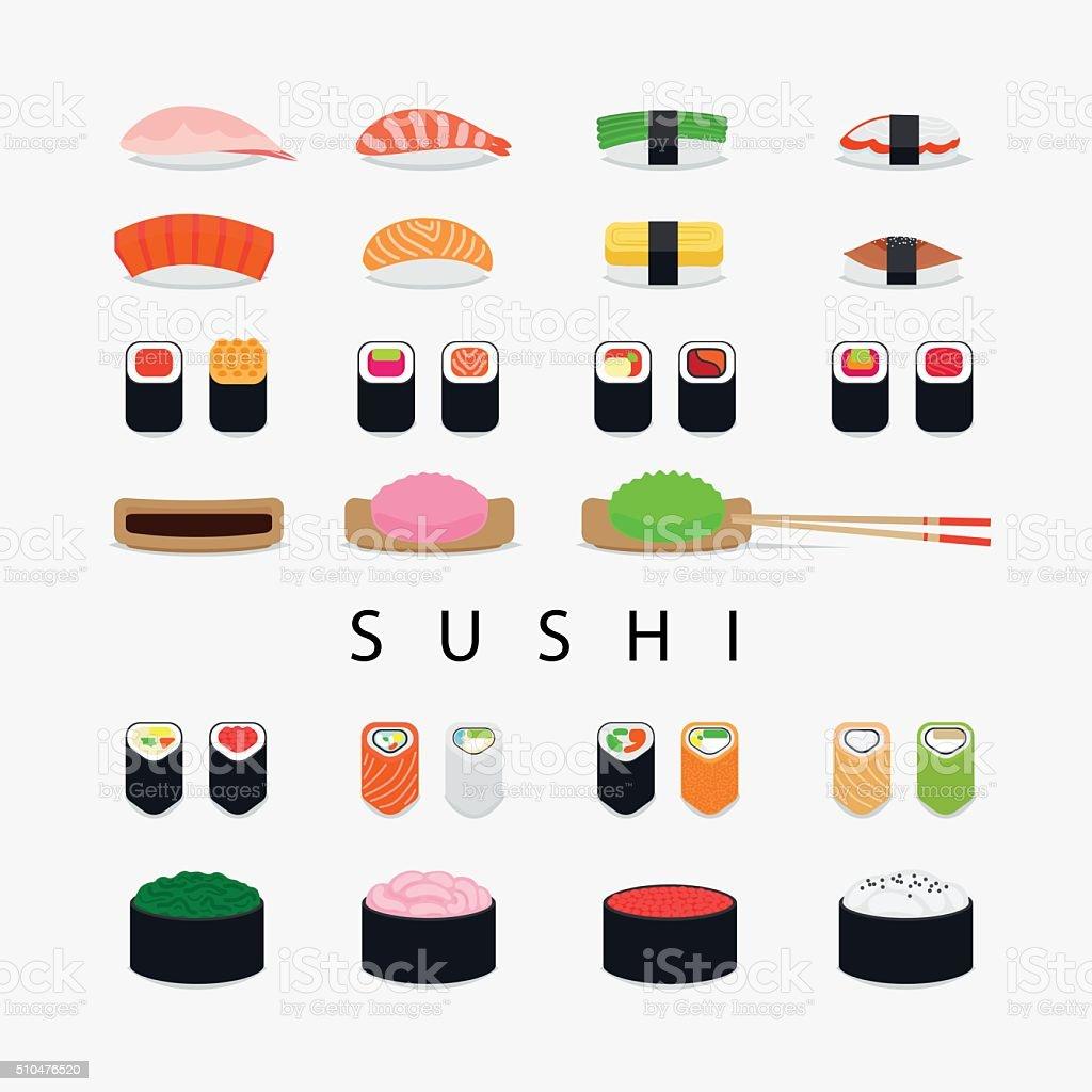 Iconos de sushi japonés - ilustración de arte vectorial