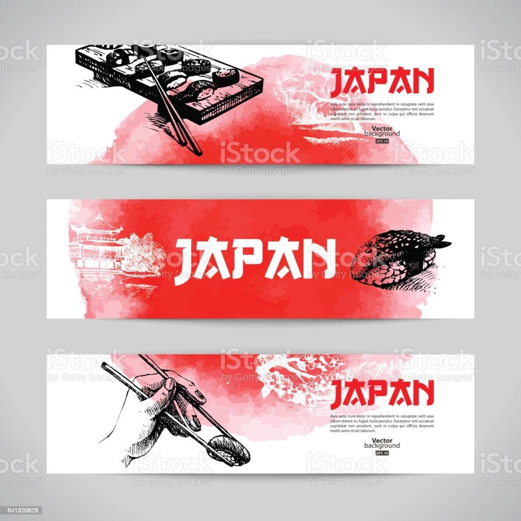 Japanese sushi menu background vector art illustration