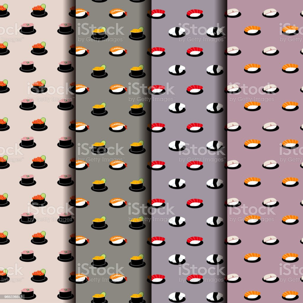 Japanese Sushi Seamless Pattern Background royalty-free japanese sushi seamless pattern background stock vector art & more images of art