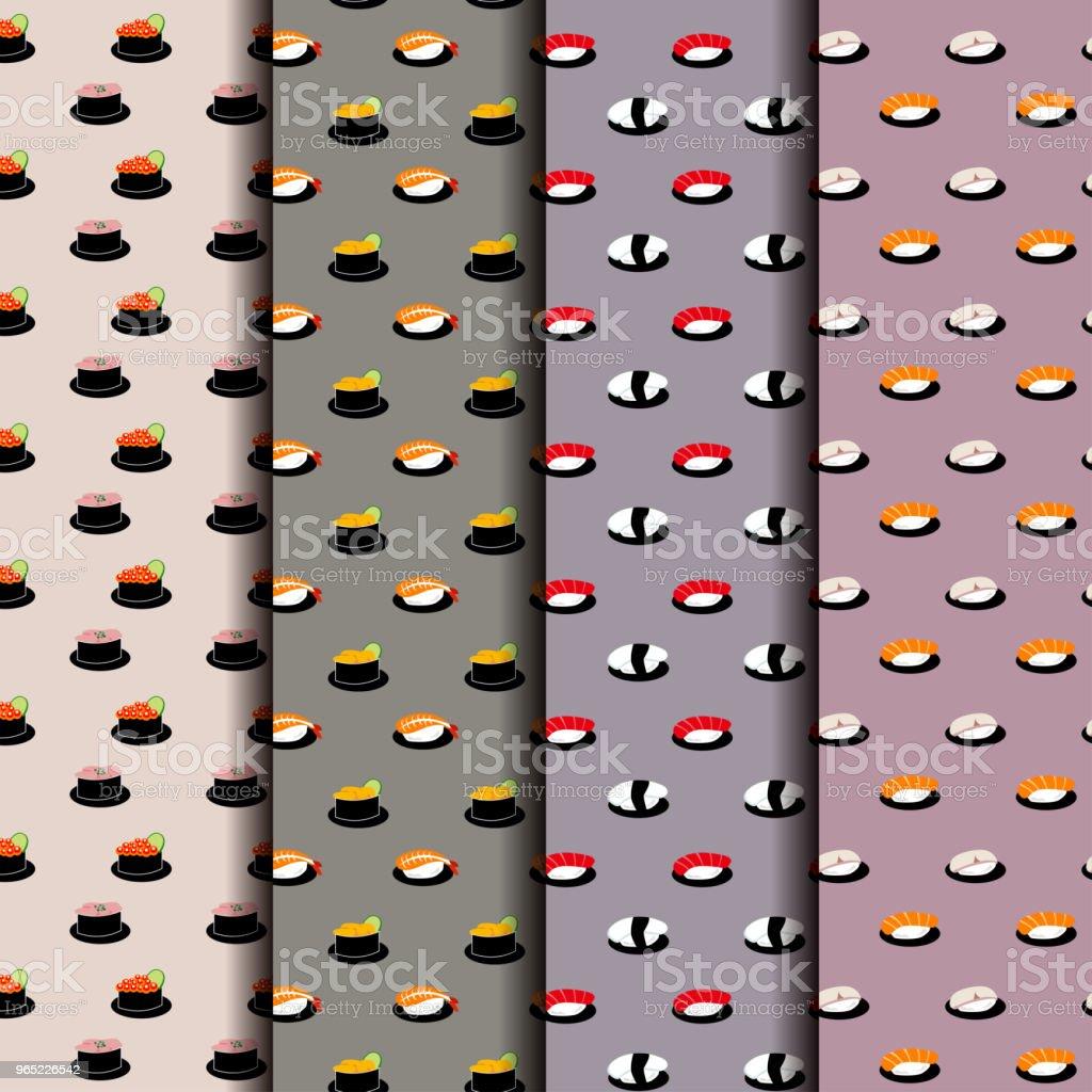 Japanese Sushi Seamless Pattern Background japanese sushi seamless pattern background - stockowe grafiki wektorowe i więcej obrazów azja royalty-free