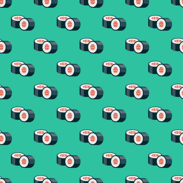 japanese sushi seamless pattern - sushi stock illustrations