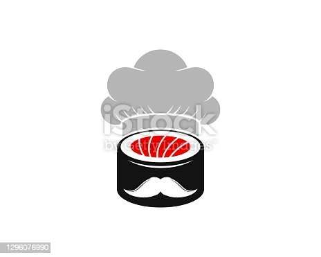 istock Japanese sushi with chef hat and mustache 1296076990