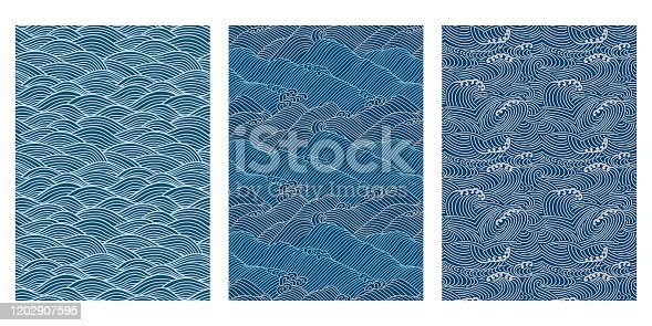istock Japanese Swirl Sea Wave Abstract Vector Background Collection 1202907595