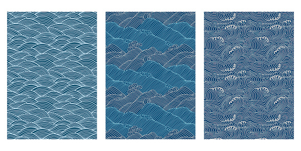 Japanese Swirl Sea Wave Abstract Vector Background Collection