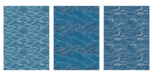 Japanese Swirl Sea Wave Abstract Vector Background Collection Japanese Swirl Sea Wave Abstract Vector Background Collection sea stock illustrations