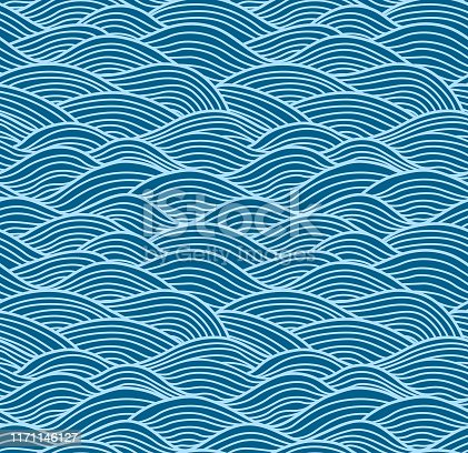 Japanese Swirl Wave Seamless Pattern
