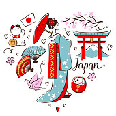 Japanese symbols placed in a heart shape on a white background.