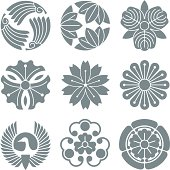 Vector elements in the style of traditional Japanese crests.