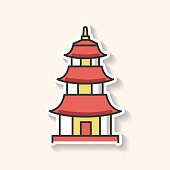 Japanese temple patch. Buddhist pagoda structure