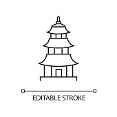 Japanese temple pixel perfect linear icon. Buddhist pagoda structure. Traditional shinto temple. Thin line customizable illustration. Contour symbol. Vector isolated outline drawing. Editable stroke
