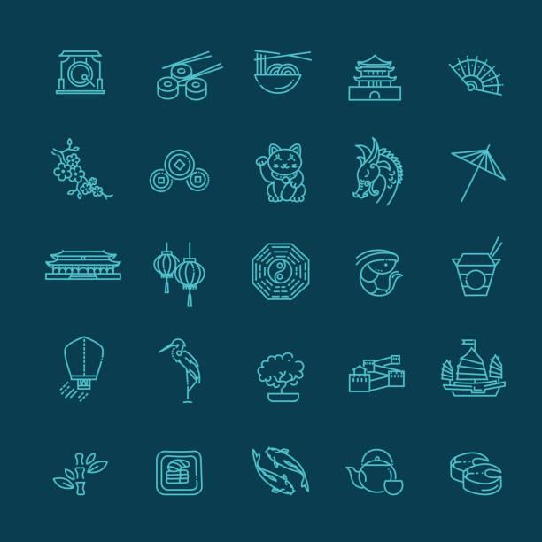 Japanische Theme-Icon-Set – Vektorgrafik