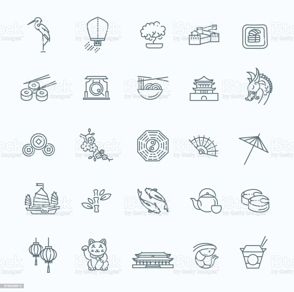 Japanese theme icon set vector art illustration