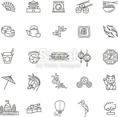 Vector icon set representing Japan travel destinations