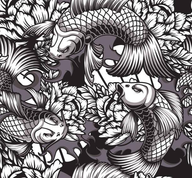 illustrations, cliparts, dessins animés et icônes de modèle sans couture de thème japonais avec des carpes de koi - tatouages asiatiques