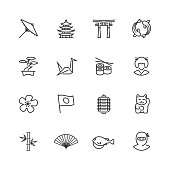 Japanese theme vector icon set in thin line style