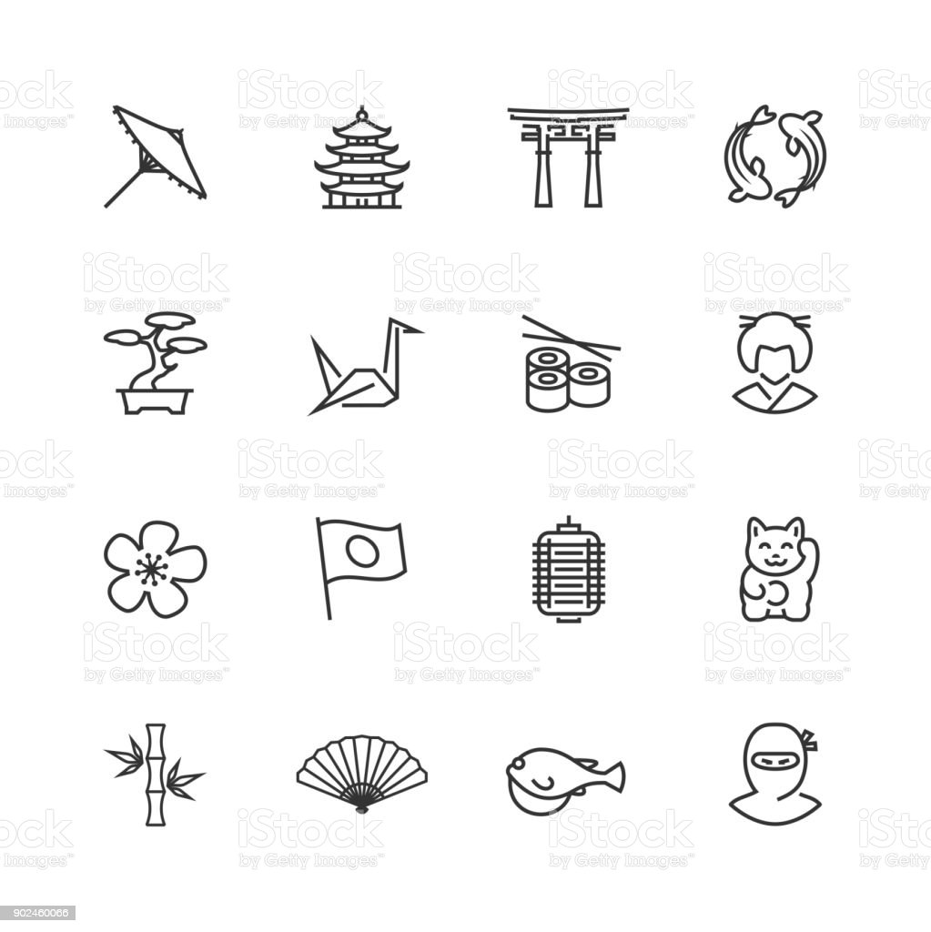 Japanese theme vector icon set in thin line style - illustrazione arte vettoriale
