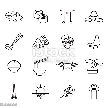 Japanese thin line icon set. Outline icons. Vector. eps10.