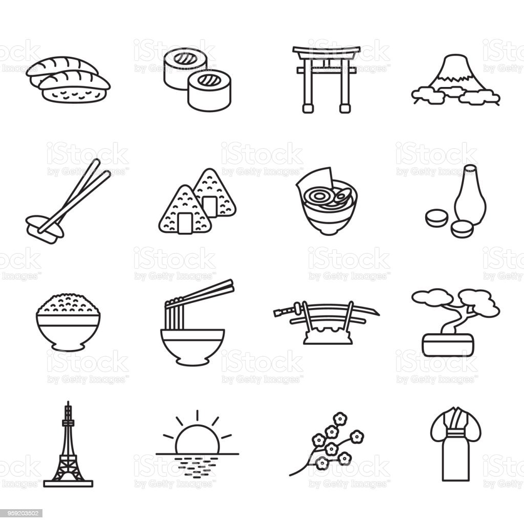 Japanese thin line icon set. Outline icons. Vector. vector art illustration
