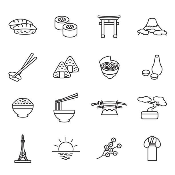 japanese thin line icon set. outline icons. vector. - sushi stock illustrations