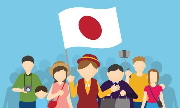 日本人観光客とツアー ・ ガイド、インバウンド観光、ベクトル イラスト - アジア旅行点のイラスト素材/クリップアート素材/マンガ素材/アイコン素材