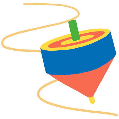 japanese toy, colorful spinning top