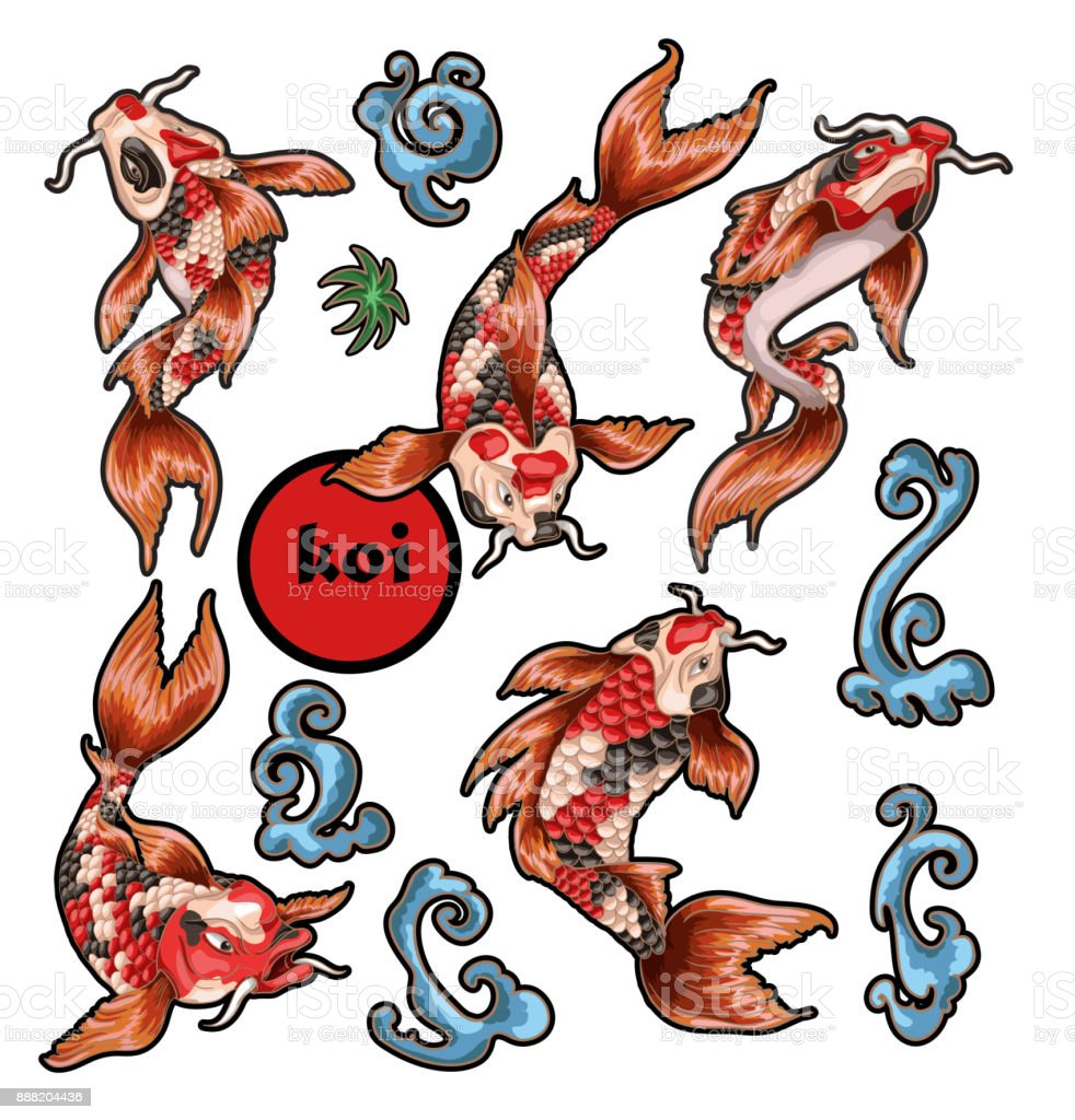 Japanese traditional carp koi for embroidery or print royalty free japanese traditional carp koi