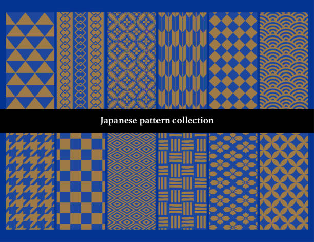 Japanese traditional continuous pattern set No. 1: A lot of painting area. vector art illustration