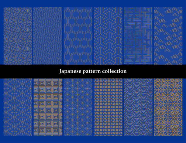 Japanese traditional continuous pattern set (2): Small coating area. vector art illustration