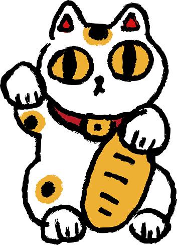 Japanese traditional craft beckoning cat illustration