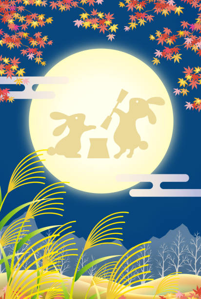 traditionelle japanische moonlight party im herbst - chinaschilf stock-grafiken, -clipart, -cartoons und -symbole