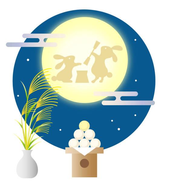 illustrazioni stock, clip art, cartoni animati e icone di tendenza di japanese traditional moonlight party in autumn - miscanthus sinensis
