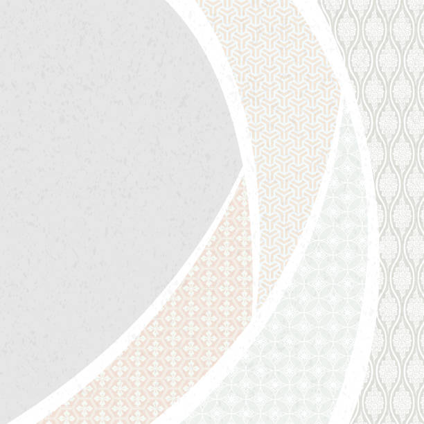 Japanese traditional patterns. Japanese background material. vector art illustration