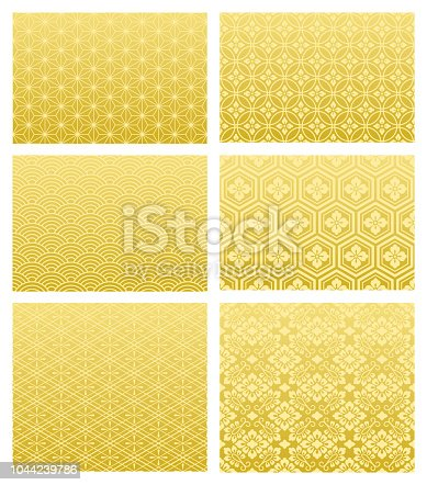 Set of backgrounds in Japanese traditional pattern.