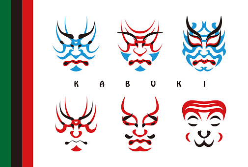 Japanese Traditional Performing Arts Kabuki Face Makeup Illustration Set (Postcard) Vector Japan Traditional Performance Arts Kabuki Face Makeup Kumurari Illustration Set (Postcard) Vector