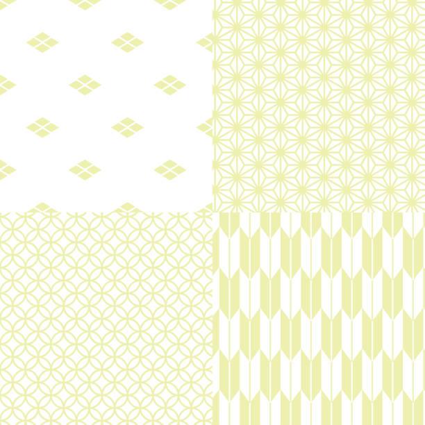 日本の伝統的なシームレス パターン ・ セット - 抹茶点のイラスト素材/クリップアート素材/マンガ素材/アイコン素材