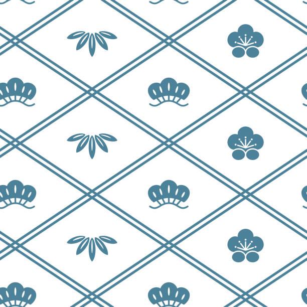 Japanese traditional seamless pattern vector illustration plum blossom stock illustrations