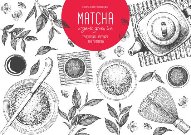 茶道の日本の伝統。抹茶。お茶屋のベクトル イラストのフレーム。デザインのヴィンテージの要素。手描きのスケッチ図 - 抹茶点のイラスト素材/クリップアート素材/マンガ素材/アイコン素材
